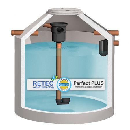 RETEC Betonzisterne 6850 Liter ECO PLUS, m. 3P Gartenfilter, ber. Zulauf, Siphon