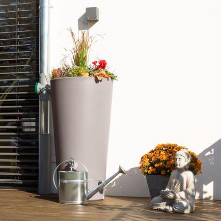 Regentonne Rainbowl Flower 150 Liter taupe