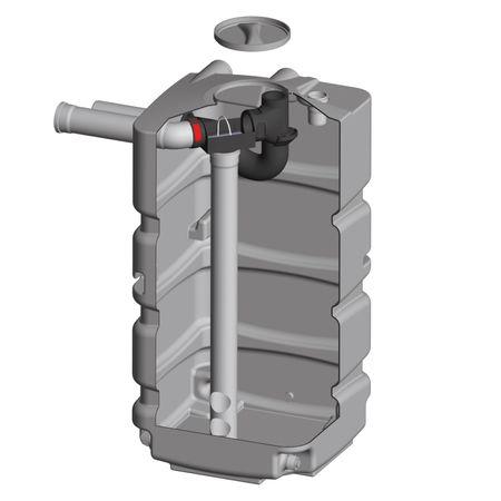 Kellertank für Regenwasser 800 Liter mit Filter, Zulauf, Siphon
