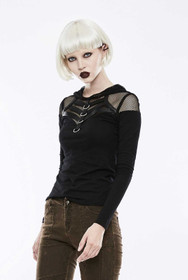 Detail image to PUNK RAVE Gothic Fishnet Hoodie Top