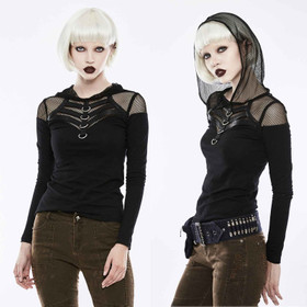 PUNK RAVE Gothic Fishnet Hoodie Top