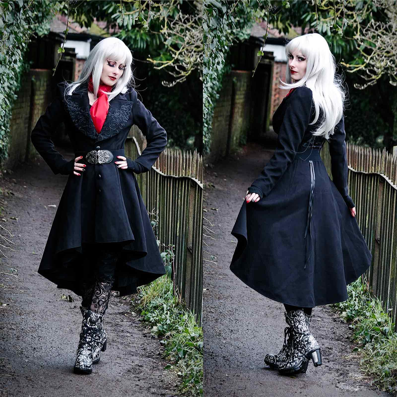 Gothic Zu In Mantel Romantischer Gothicmantel Dark Coat Details Love Winter Schwingend Lady n0wPOk