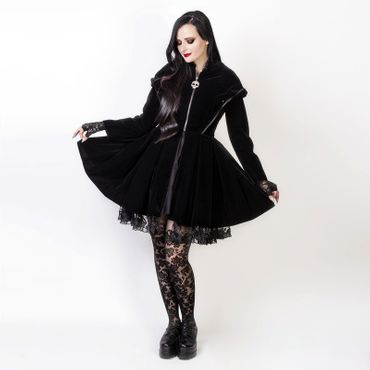 DARK IN LOVE Black Imp Velvet Coat
