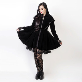 Detail image to DARK IN LOVE Black Imp Velvet Coat