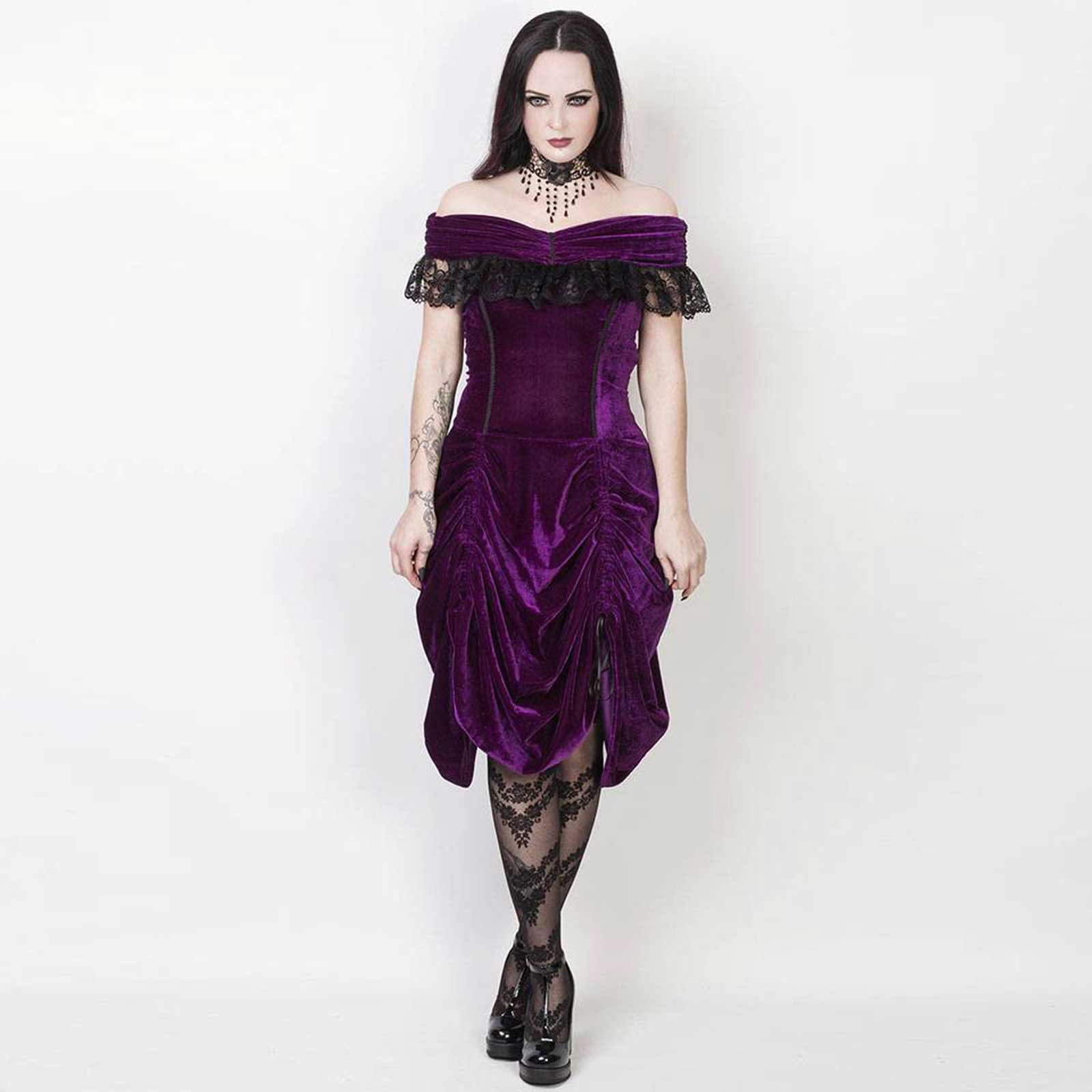 vintage goth velvet dream dress purple. Black Bedroom Furniture Sets. Home Design Ideas