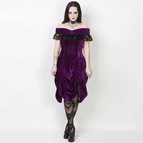 VINTAGE GOTH Velvet Dream Dress Purple