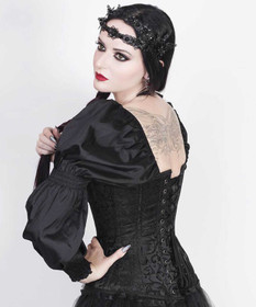 Detail image to VINTAGE GOTH Black Brocade Corset w. Sleeves