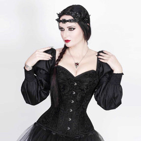 VINTAGE GOTH Black Brocade Corset w. Sleeves