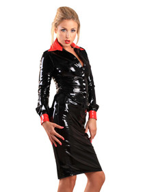 Detail image to HONOUR Seductress PVC Shirt Black-Red
