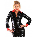 HONOUR Seductress Lackbluse Schwarz-Rot 001