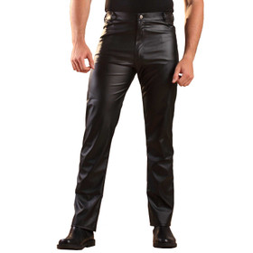 Detail image to HONOUR Men's Straight Cut Leatherette Jeans