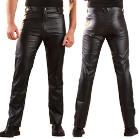 HONOUR Men's Straight Cut Leatherette Jeans