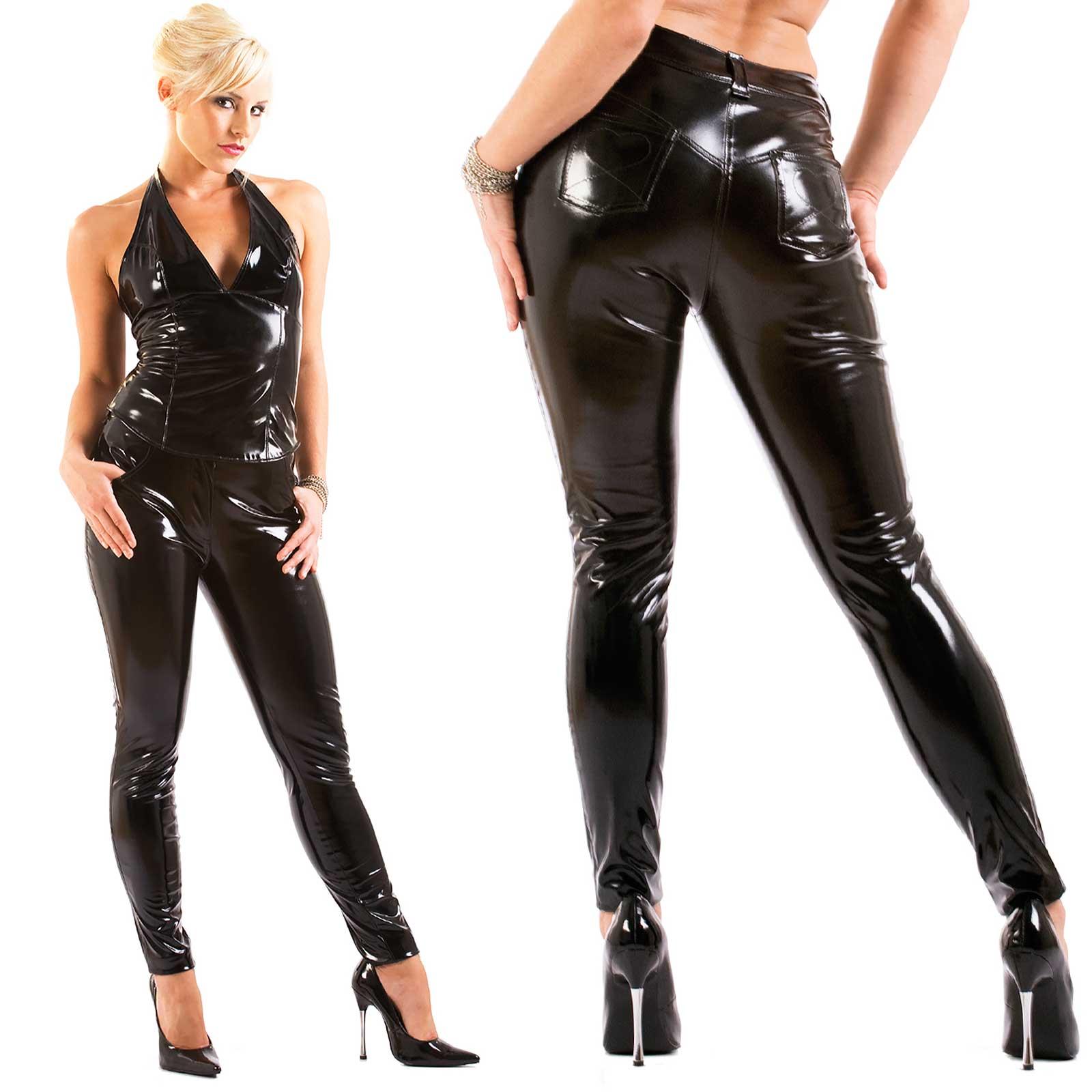 d70a55e29ef69e Detail image to HONOUR Women PVC Pants Black