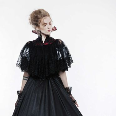 PUNK RAVE Lace Cape with High Collar