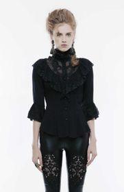 Detailbild zu PUNK RAVE Viktorianische Bluse Schwarz