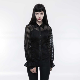 PUNK RAVE Sheer Stripe Shirt Black