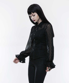 Detail image to PUNK RAVE Sheer Stripe Shirt Black