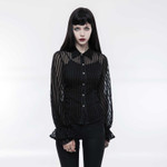 PUNK RAVE Sheer Stripe Shirt Black 001