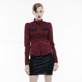 Detail image to PUNK RAVE Stand-up Collar Shirt Dark Red