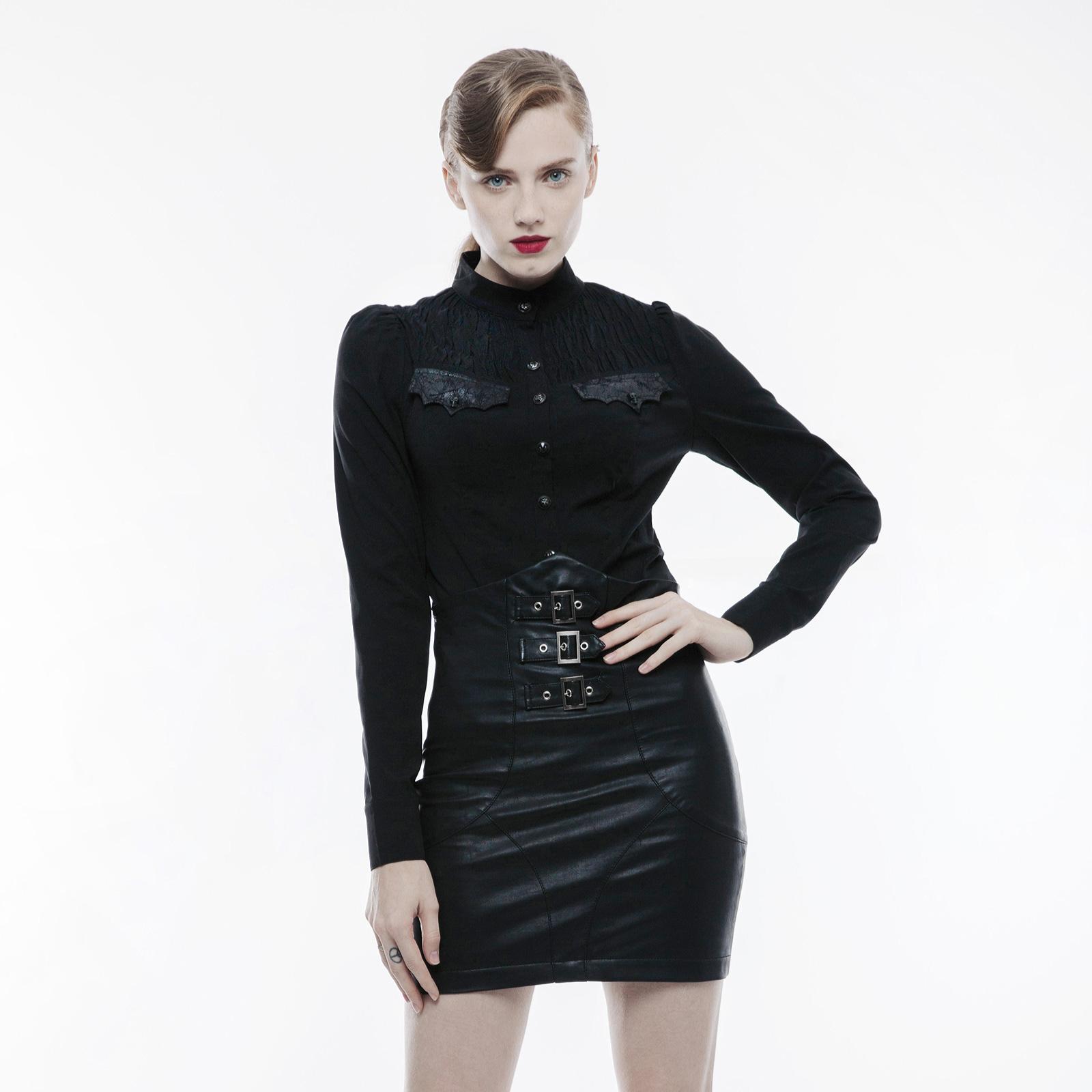 9a6782da6b7ec5 PUNK RAVE Stehkragenbluse Schwarz Gothic-Bluse Damen Gesmokt Blouse ...
