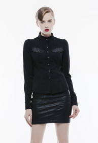 Detail image to PUNK RAVE Stand-up Collar Shirt Black