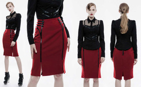 Detail image to PUNK RAVE Uniform Skirt Red
