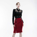 PUNK RAVE Uniform Skirt Red 001