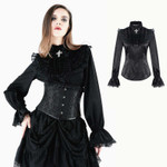 DARK IN LOVE Black Satin Gothic Bluse 001