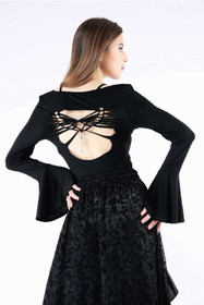 Detail image to DARK IN LOVE Black Butterfly Top