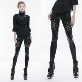 PUNK RAVE Gothic Leggings Glossy With Lace