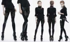 Detail image to PUNK RAVE Gothic Leggings Glossy With Lace