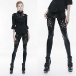 PUNK RAVE Gothic Leggings Glossy With Lace 001