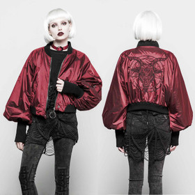 PUNK RAVE Baphomet Bomber Jacket Red