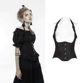 PUNK RAVE Gothic Underbust Corset Black-Red