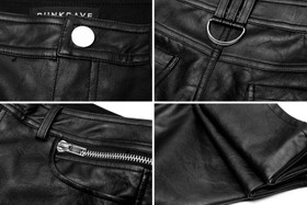 Detail image to PUNK RAVE Black Leatherette Pants