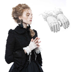 PUNK RAVE PYON Fingerless Lace Gloves White
