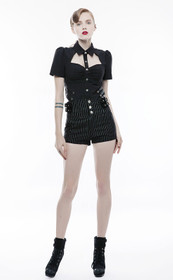 Detail image to PUNK RAVE High Waist Pinstripe Shorts