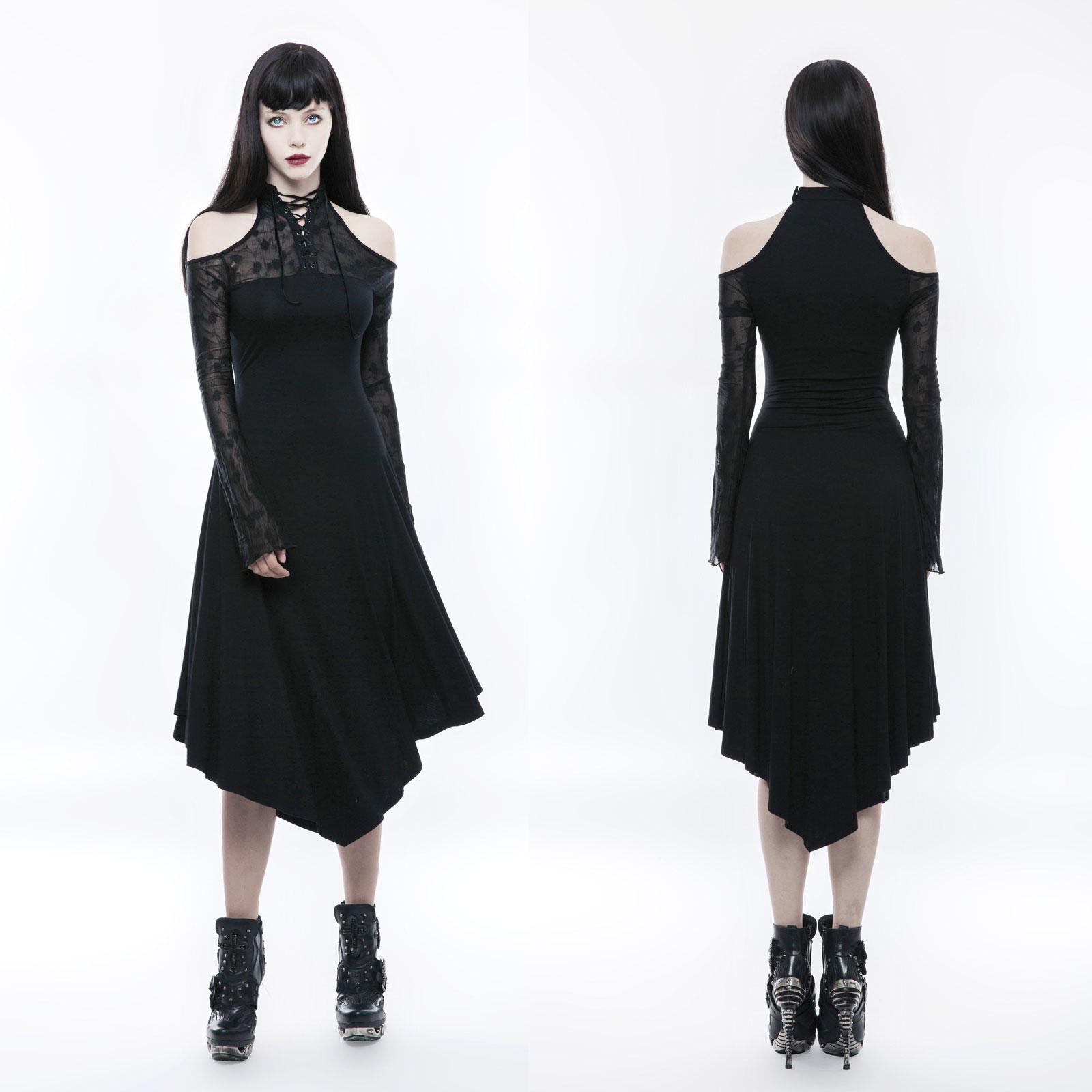 PUNK RAVE Decent Sorrow Dress Gothic Kleid Schwarz Trauerkleid ...