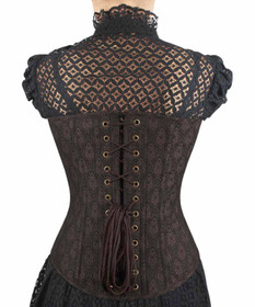 Detail image to VINTAGE GOTH Gothic Overbust Corset Brown
