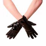 HONOUR Lack-Handschuhe Kurz Schwarz 001