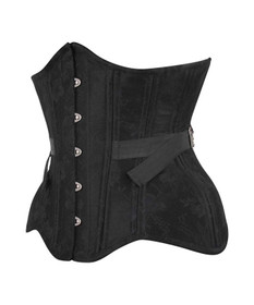 Detail image to VINTAGE GOTH Iva Curvy Black Brocade Corset w. Fan Lacing