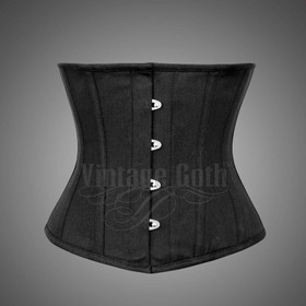 VINTAGE GOTH Cotton Twill Corset Men Black