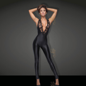 NOIR HANDMADE Wetlook Jumpsuit w. Lace
