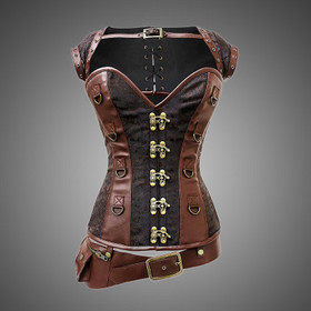 VINTAGE GOTH Steampunk Corset Brown Plus Bolero + Pocket Belt