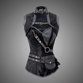 VINTAGE GOTH Black Brocade Steampunk Corset With Shurg