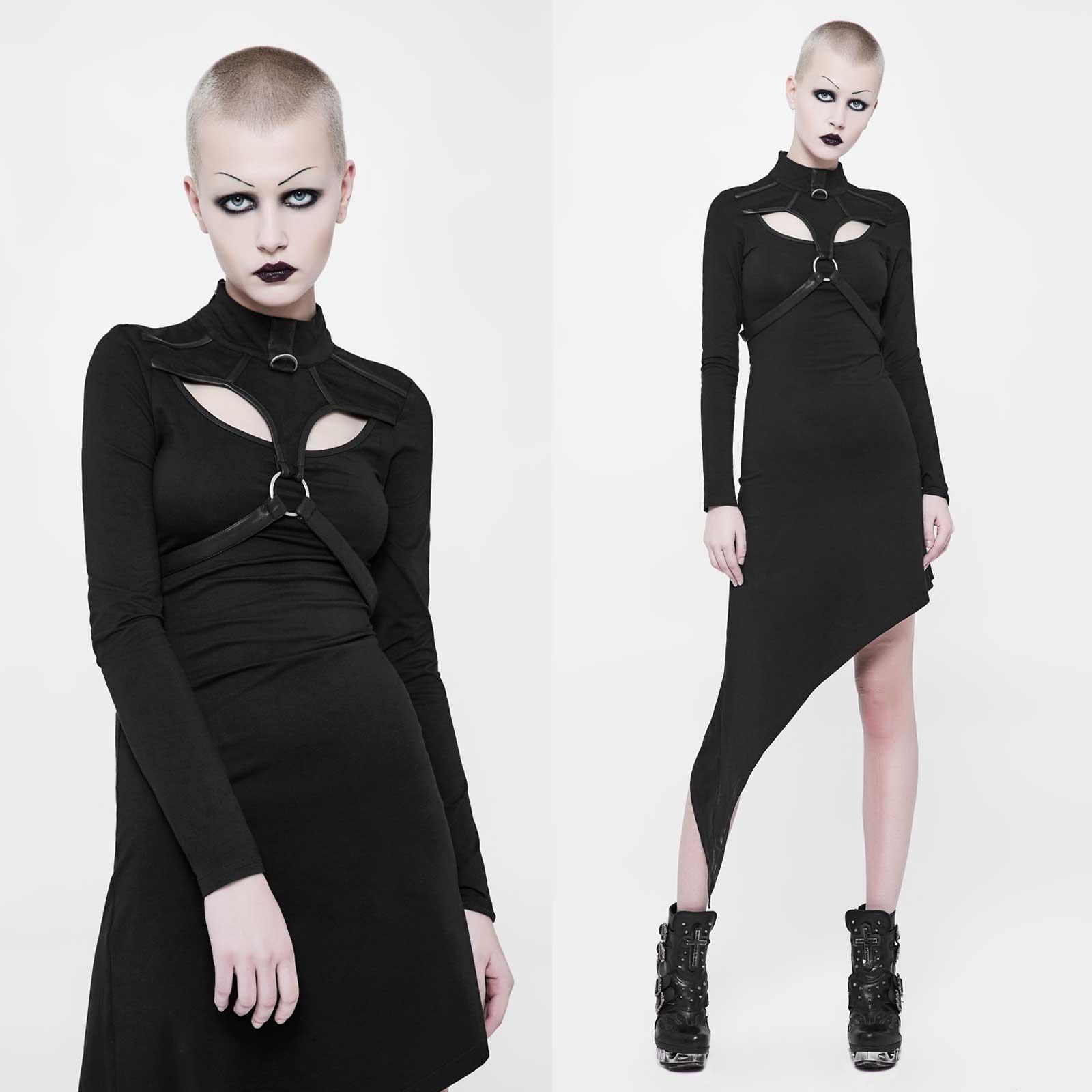 PUNK RAVE Cuspy Emo Dress Gothic Kleid Schwarz Asymmetrisch Leder-Kontraste