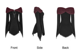 Detail image to PUNK RAVE Gothic Tunic Top Black-Red