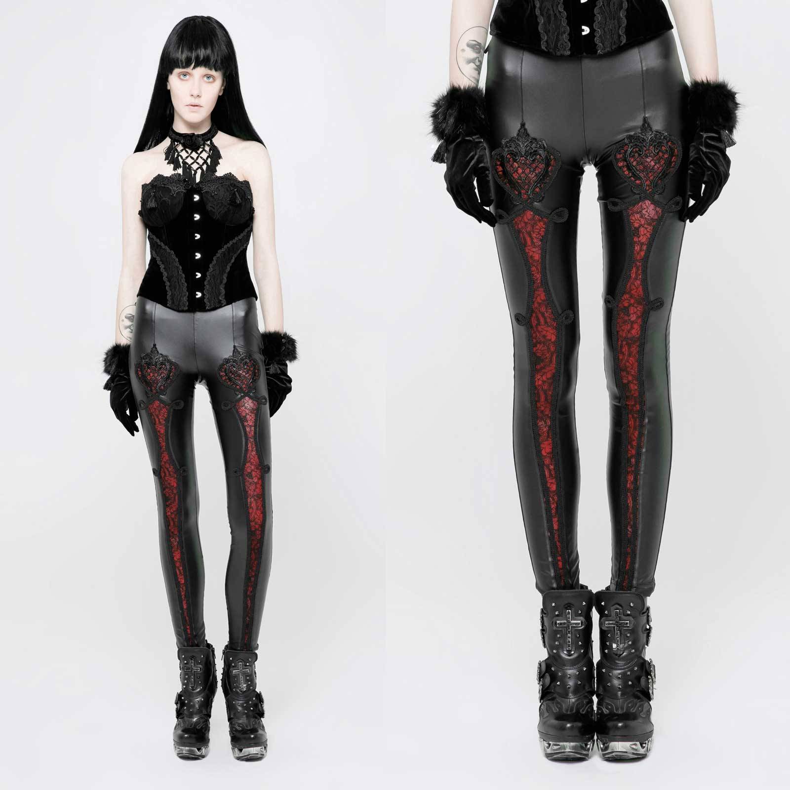 f45ff2503cf Detail image to PUNK RAVE Gothic Love Leggings Black-Red