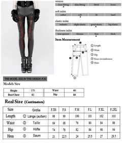 Detail image to PUNK RAVE Gothic Love Leggings Black-Red