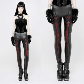 PUNK RAVE Gothic Love Leggings Schwarz-Rot